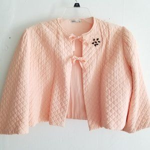 Vintage Peach Quilted Lined Bed Jacket with Beads